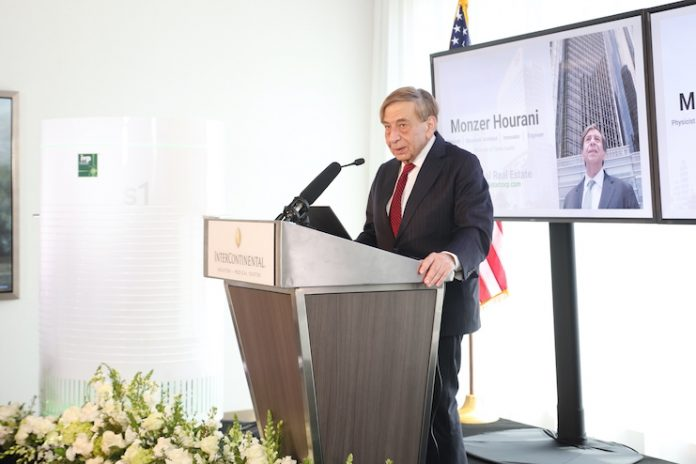 IVP Air Founder Monzer Hourani delivering remarks at the InterContinental Houston – Medical Center on September 10, 2020.