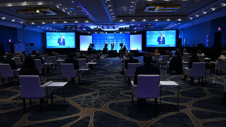 A room setup at Hilton McLean Tysons Corner for global Hilton Worldwide Sales hybrid event