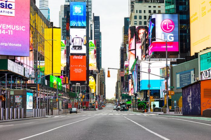 Times Square on March 28, 2020, after self-quarantine and social distancing was put in place in New York City to slow the spread of the COVID-19 pandemic.