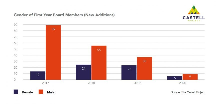 Castell Project Public Board Diversity - Gender of First Year Board Members New Additions