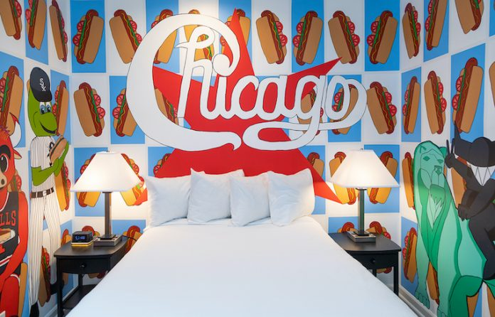 A mural at Hotel Chicago West Loop by Feral Grin