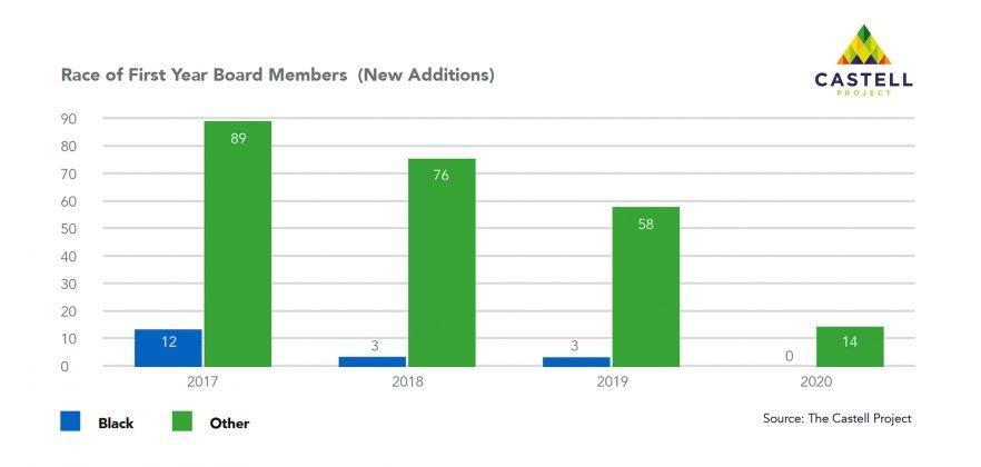 Castell Project Public Board Diversity — Race of First Year Board Members
