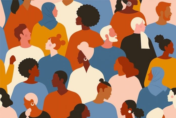 Illustration depicting people with diverse skin colors, clothing, hair styles—representing diversity, equity, and inclusion (DE&I)