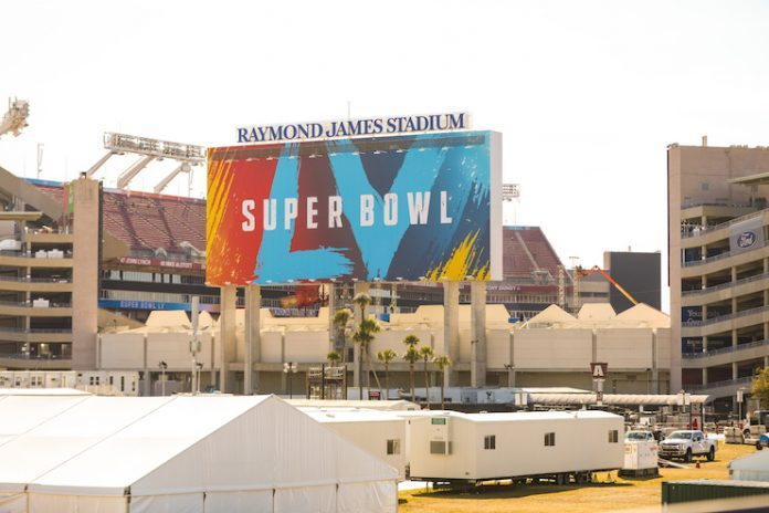 Outside the Raymond James Stadium in Tampa, Florida, on January 21, 2021, ahead of Super Bowl LV on February 7