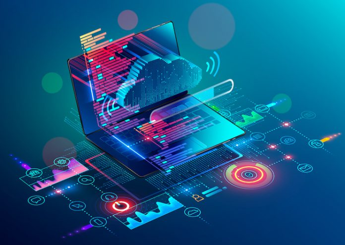 Laptop with code on screen hanging over icons programming app, software development, web coding. Isometric conceptual illustration about collaboration work via internet or cloud storage. Remote work. (Laptop with code on screen hanging over icons prog