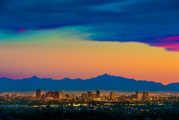 Aerial view of Phoenix, Arizona, skyline as seen from Scottsdale