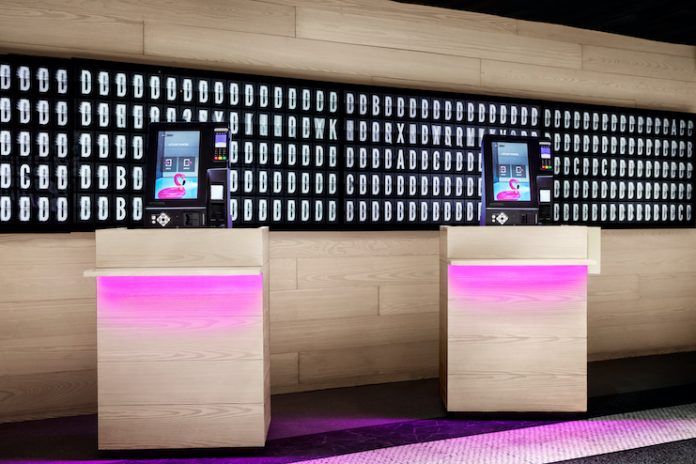 Marriott is piloting contactless kiosks, including at Moxy NYC Times Square (Credit: Marriott International)